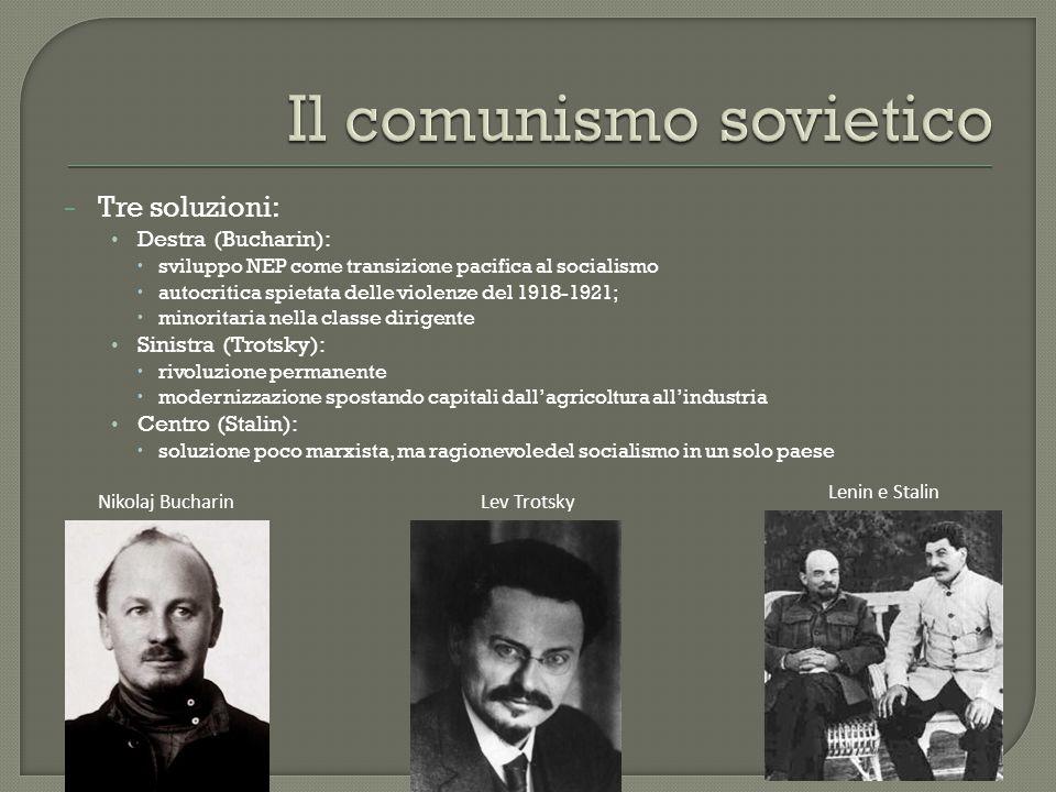 − Tre soluzioni: Destra (Bucharin):  sviluppo NEP come transizione pacifica al socialismo  autocritica spietata delle violenze del 1918-1921;  mino