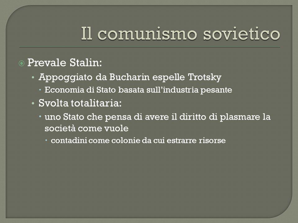 Prevale Stalin: Appoggiato da Bucharin espelle Trotsky  Economia di Stato basata sull'industria pesante Svolta totalitaria:  uno Stato che pensa d
