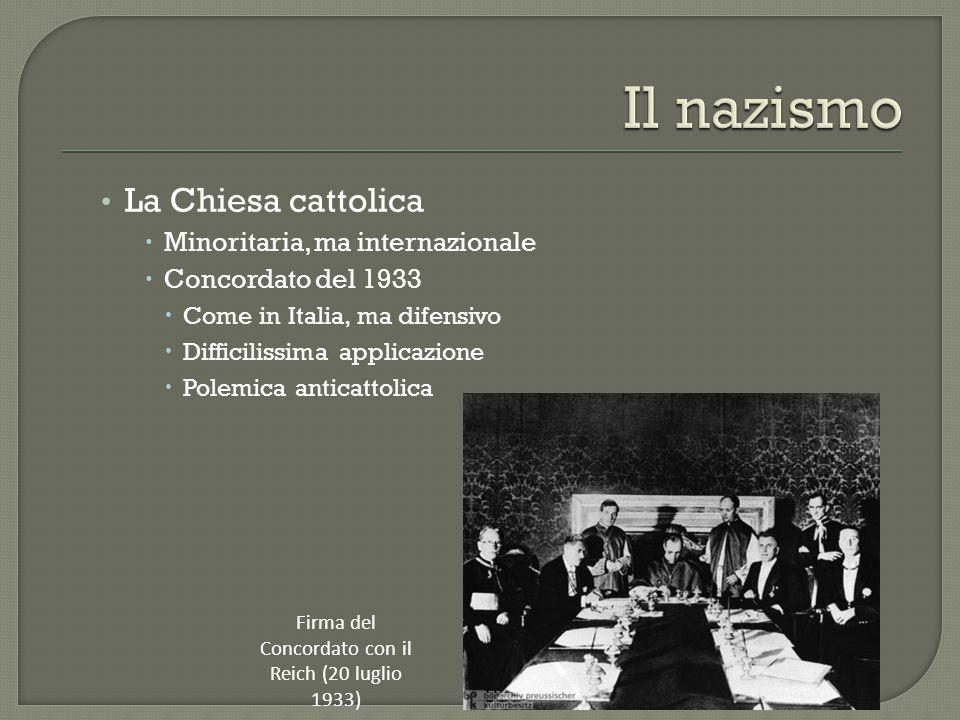 La Chiesa cattolica  Minoritaria, ma internazionale  Concordato del 1933  Come in Italia, ma difensivo  Difficilissima applicazione  Polemica ant