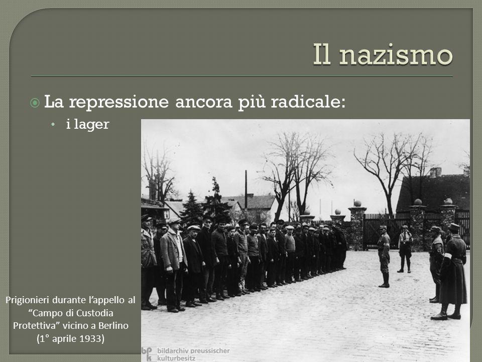 """ La repressione ancora più radicale: i lager Prigionieri durante l'appello al """"Campo di Custodia Protettiva"""" vicino a Berlino (1° aprile 1933)"""