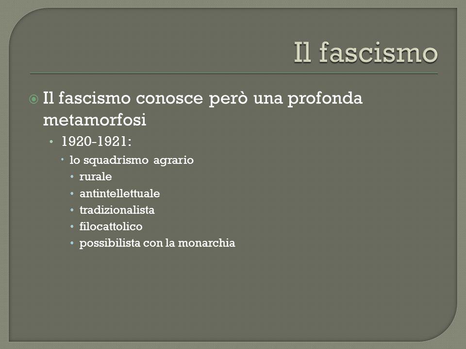 Il fascismo conosce però una profonda metamorfosi 1920-1921:  lo squadrismo agrario rurale antintellettuale tradizionalista filocattolico possibilista con la monarchia