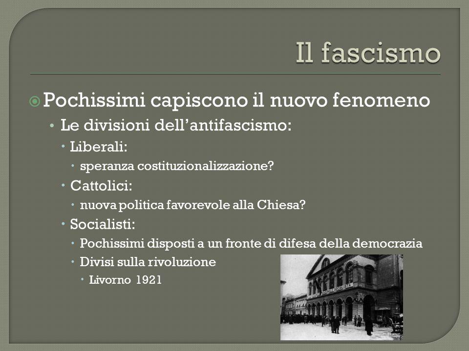  Pochissimi capiscono il nuovo fenomeno Le divisioni dell'antifascismo:  Liberali:  speranza costituzionalizzazione?  Cattolici:  nuova politica