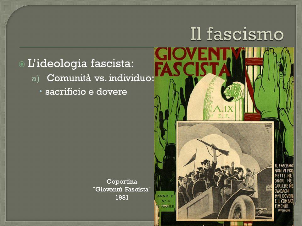""" L'ideologia fascista: a) Comunità vs. individuo:  sacrificio e dovere Copertina """"Gioventù Fascista"""" 1931"""