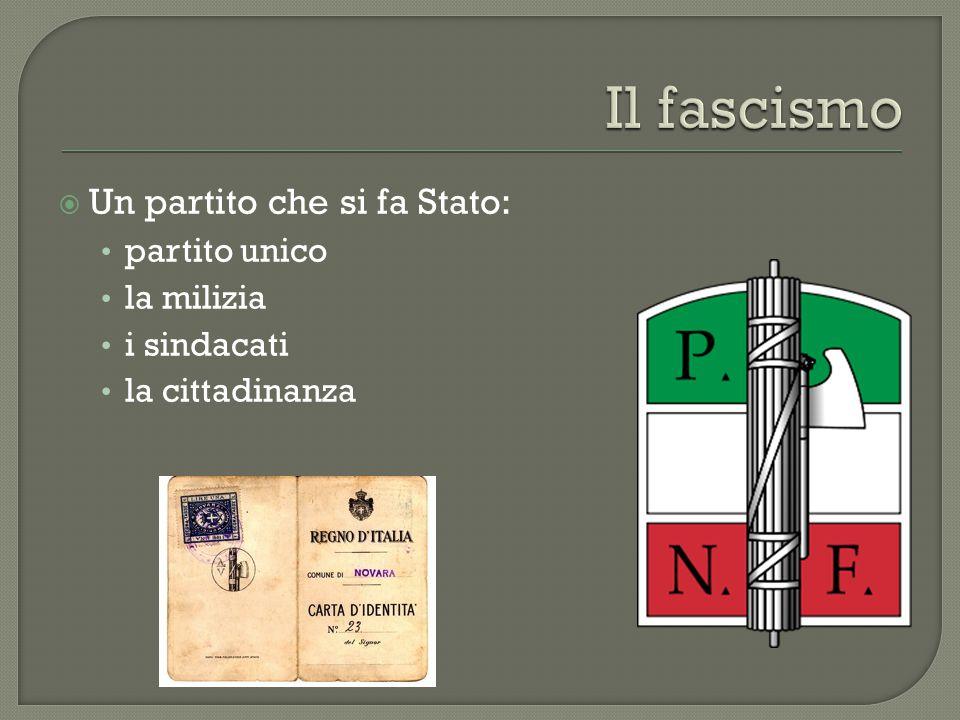  Un partito che si fa Stato: partito unico la milizia i sindacati la cittadinanza