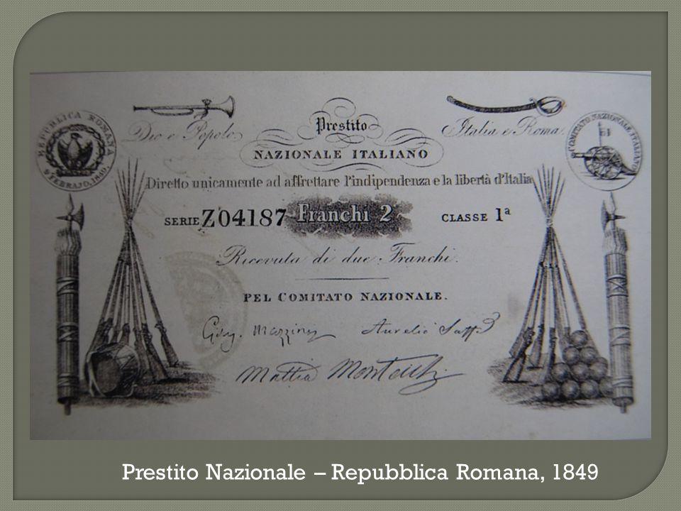 Prestito Nazionale – Repubblica Romana, 1849