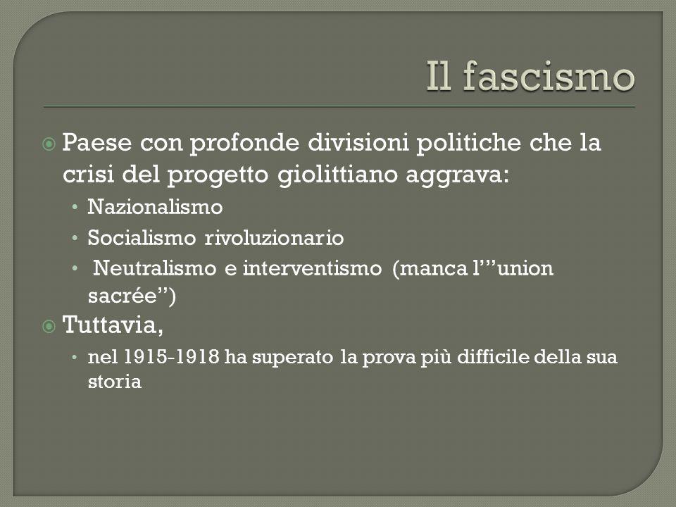  Paese con profonde divisioni politiche che la crisi del progetto giolittiano aggrava: Nazionalismo Socialismo rivoluzionario Neutralismo e intervent