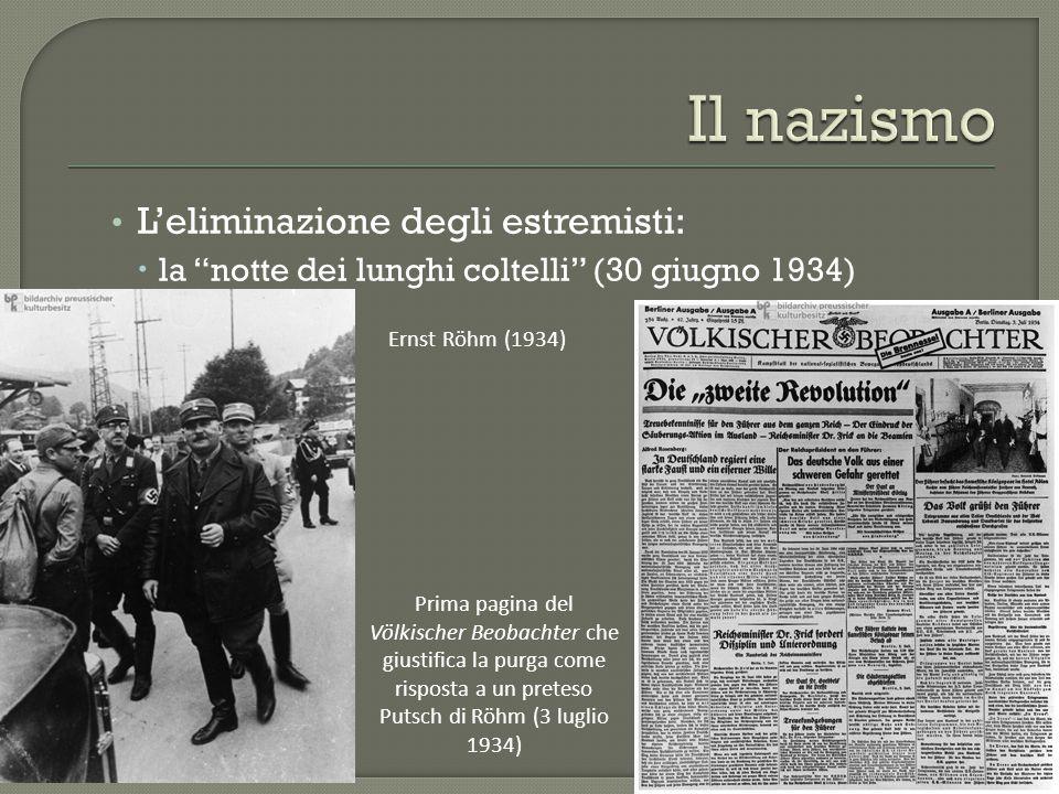 """L'eliminazione degli estremisti:  la """"notte dei lunghi coltelli"""" (30 giugno 1934) Prima pagina del Völkischer Beobachter che giustifica la purga come"""