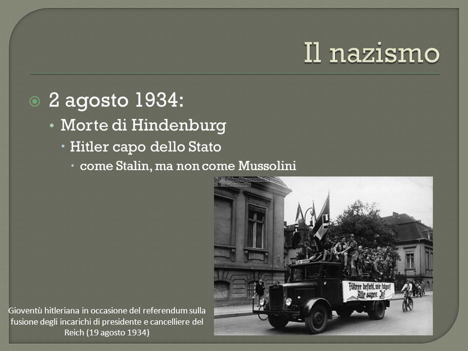  2 agosto 1934: Morte di Hindenburg  Hitler capo dello Stato  come Stalin, ma non come Mussolini Gioventù hitleriana in occasione del referendum sulla fusione degli incarichi di presidente e cancelliere del Reich (19 agosto 1934)