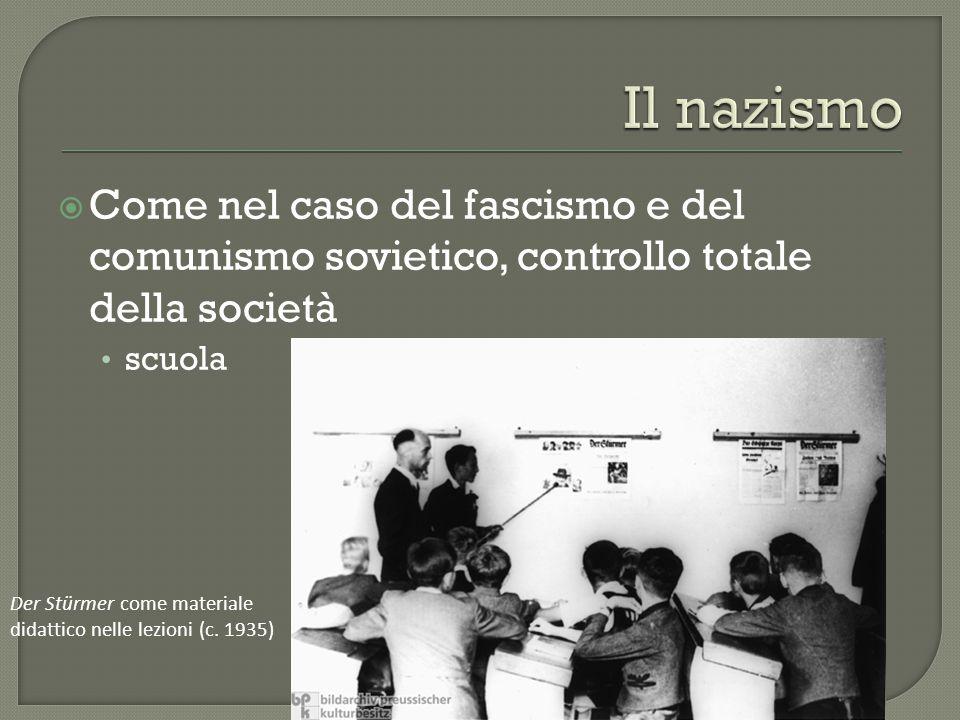  Come nel caso del fascismo e del comunismo sovietico, controllo totale della società scuola Der Stürmer come materiale didattico nelle lezioni (c.