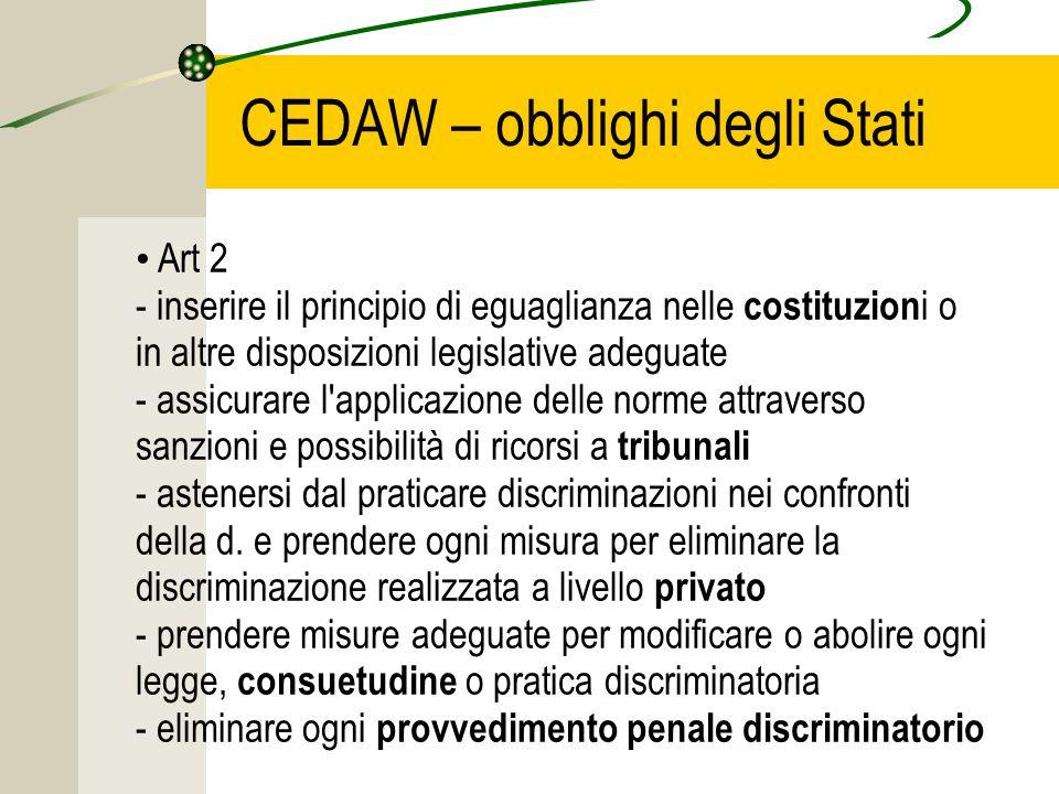 CEDAW – obblighi degli Stati Art 2 - inserire il principio di eguaglianza nelle costituzion i o in altre disposizioni legislative adeguate - assicurare l applicazione delle norme attraverso sanzioni e possibilità di ricorsi a tribunali - astenersi dal praticare discriminazioni nei confronti della d.