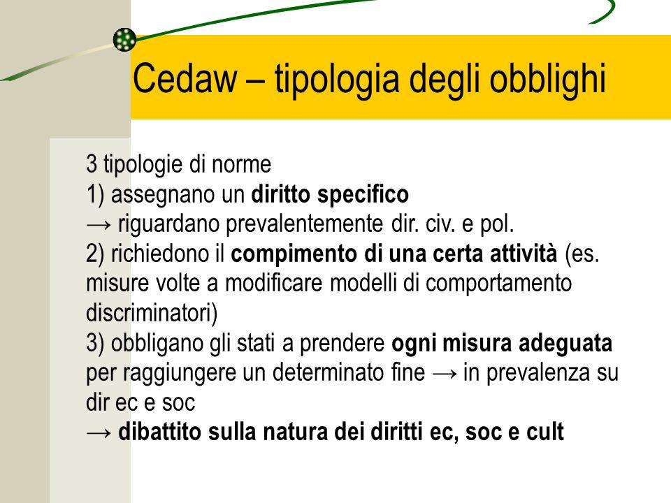 Cedaw – tipologia degli obblighi 3 tipologie di norme 1) assegnano un diritto specifico → riguardano prevalentemente dir.