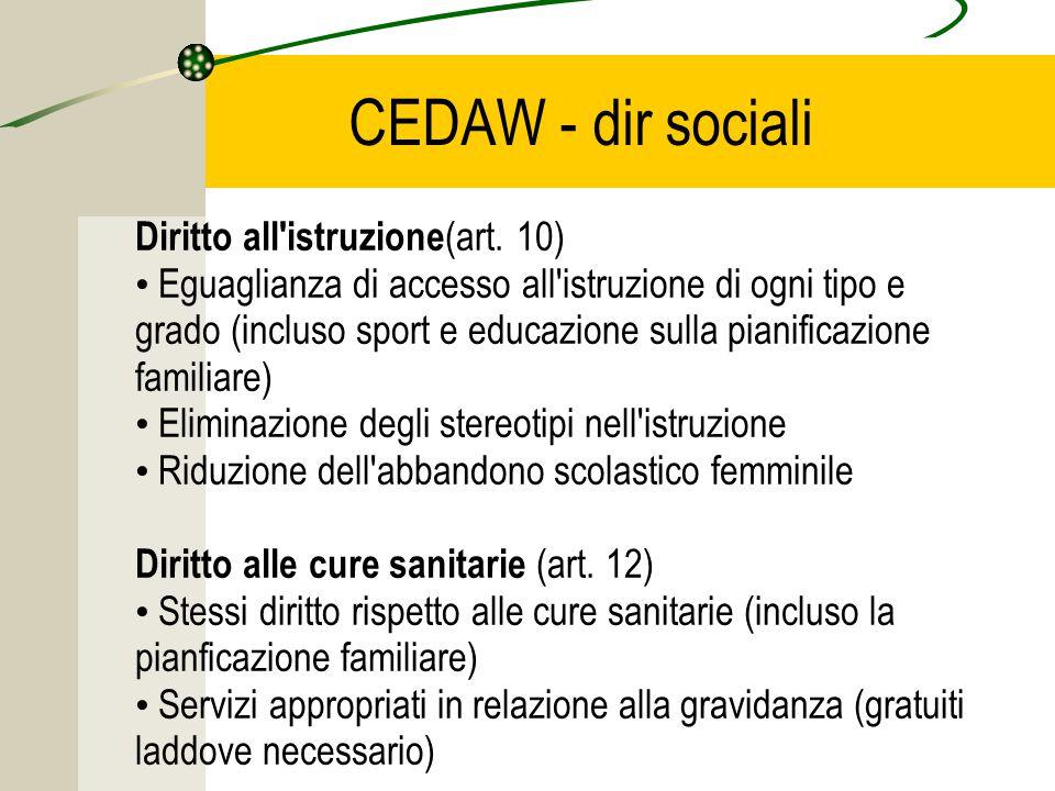 CEDAW - dir sociali Diritto all istruzione (art.