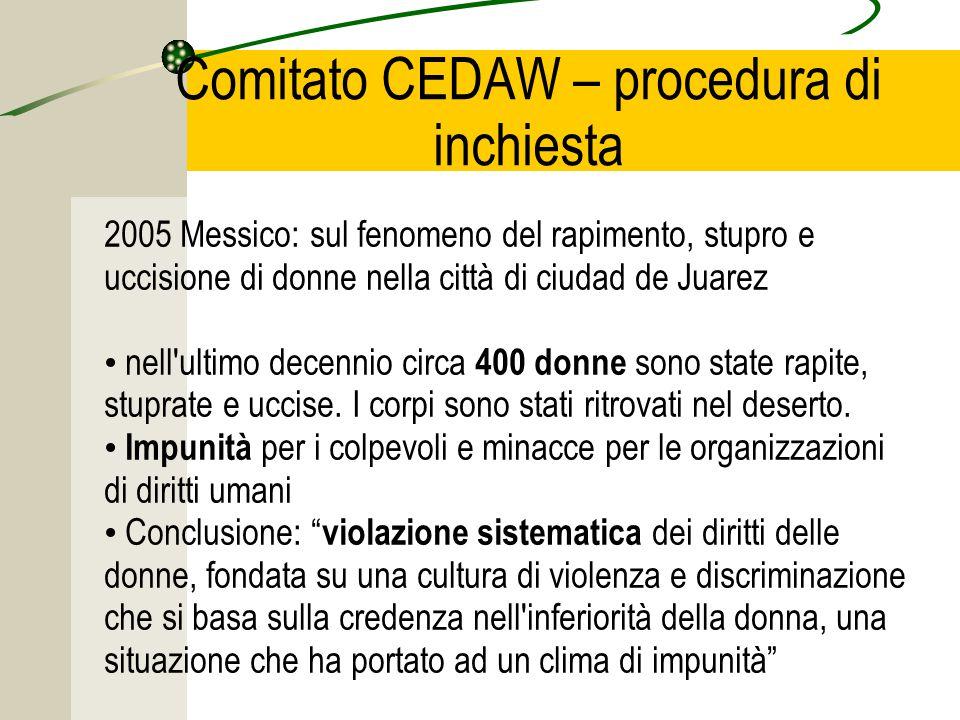 Comitato CEDAW – procedura di inchiesta 2005 Messico: sul fenomeno del rapimento, stupro e uccisione di donne nella città di ciudad de Juarez nell ultimo decennio circa 400 donne sono state rapite, stuprate e uccise.