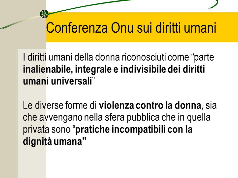 Conferenza Onu sui diritti umani I diritti umani della donna riconosciuti come parte inalienabile, integrale e indivisibile dei diritti umani universali Le diverse forme di violenza contro la donna, sia che avvengano nella sfera pubblica che in quella privata sono pratiche incompatibili con la dignità umana