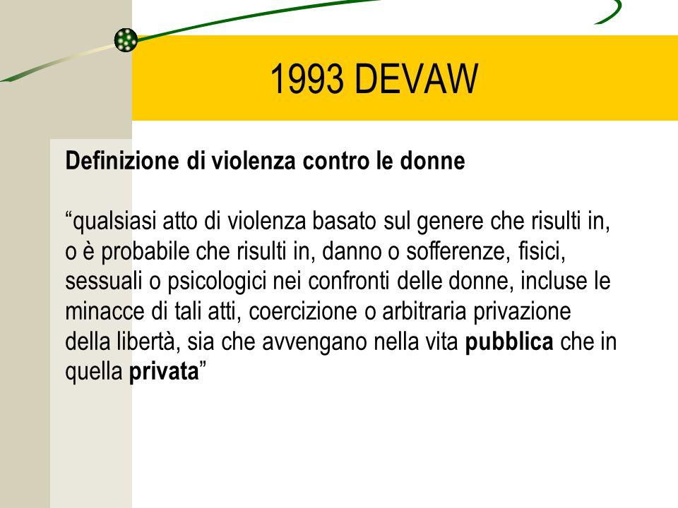 1993 DEVAW Definizione di violenza contro le donne qualsiasi atto di violenza basato sul genere che risulti in, o è probabile che risulti in, danno o sofferenze, fisici, sessuali o psicologici nei confronti delle donne, incluse le minacce di tali atti, coercizione o arbitraria privazione della libertà, sia che avvengano nella vita pubblica che in quella privata