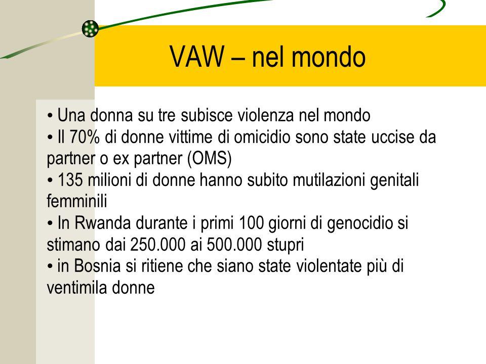 VAW – nel mondo Una donna su tre subisce violenza nel mondo Il 70% di donne vittime di omicidio sono state uccise da partner o ex partner (OMS) 135 milioni di donne hanno subito mutilazioni genitali femminili In Rwanda durante i primi 100 giorni di genocidio si stimano dai 250.000 ai 500.000 stupri in Bosnia si ritiene che siano state violentate più di ventimila donne