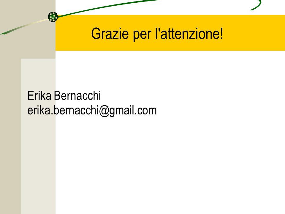 Grazie per l attenzione! Erika Bernacchi erika.bernacchi@gmail.com