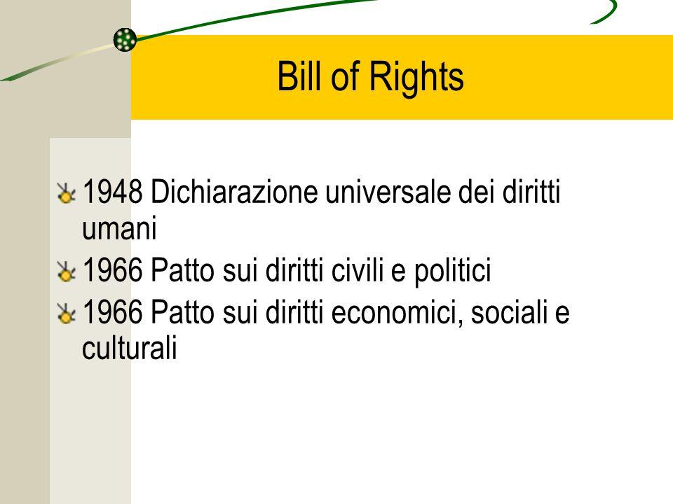 Bill of Rights 1948 Dichiarazione universale dei diritti umani 1966 Patto sui diritti civili e politici 1966 Patto sui diritti economici, sociali e culturali