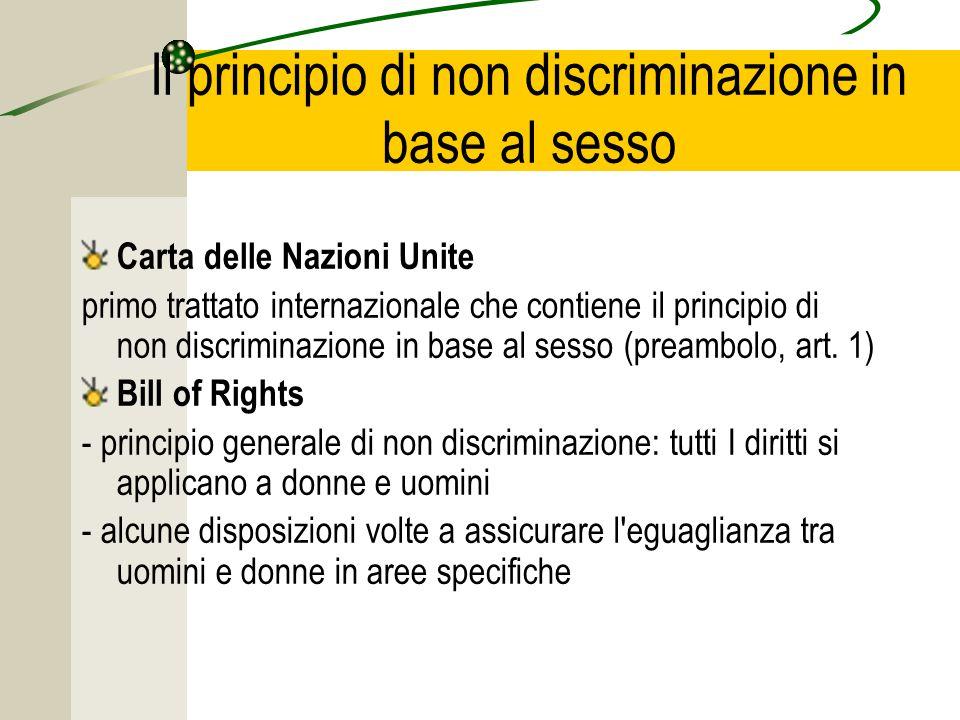 Il principio di non discriminazione in base al sesso Carta delle Nazioni Unite primo trattato internazionale che contiene il principio di non discriminazione in base al sesso (preambolo, art.