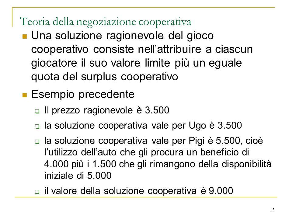 13 Teoria della negoziazione cooperativa Una soluzione ragionevole del gioco cooperativo consiste nell'attribuire a ciascun giocatore il suo valore li