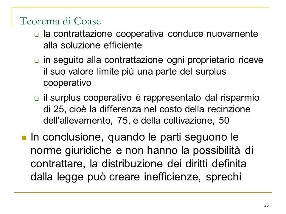 23 Teorema di Coase  la contrattazione cooperativa conduce nuovamente alla soluzione efficiente  in seguito alla contrattazione ogni proprietario ri