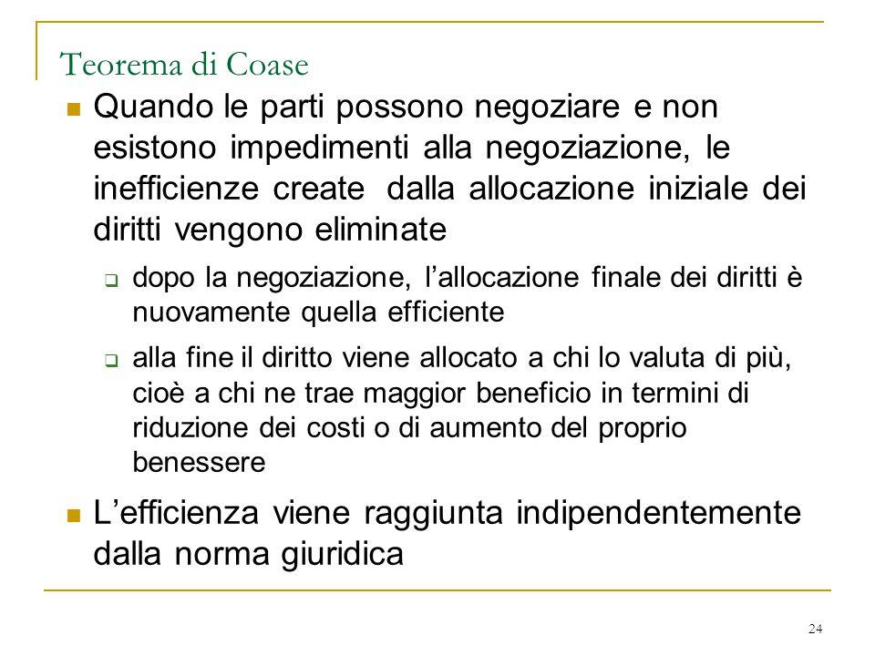 24 Teorema di Coase Quando le parti possono negoziare e non esistono impedimenti alla negoziazione, le inefficienze create dalla allocazione iniziale