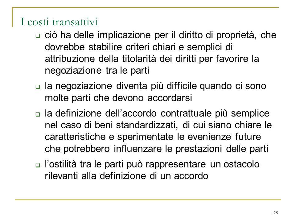 29 I costi transattivi  ciò ha delle implicazione per il diritto di proprietà, che dovrebbe stabilire criteri chiari e semplici di attribuzione della