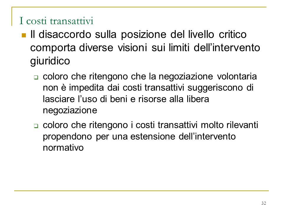 32 I costi transattivi Il disaccordo sulla posizione del livello critico comporta diverse visioni sui limiti dell'intervento giuridico  coloro che ri