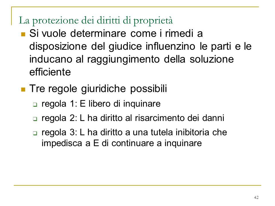 42 La protezione dei diritti di proprietà Si vuole determinare come i rimedi a disposizione del giudice influenzino le parti e le inducano al raggiung