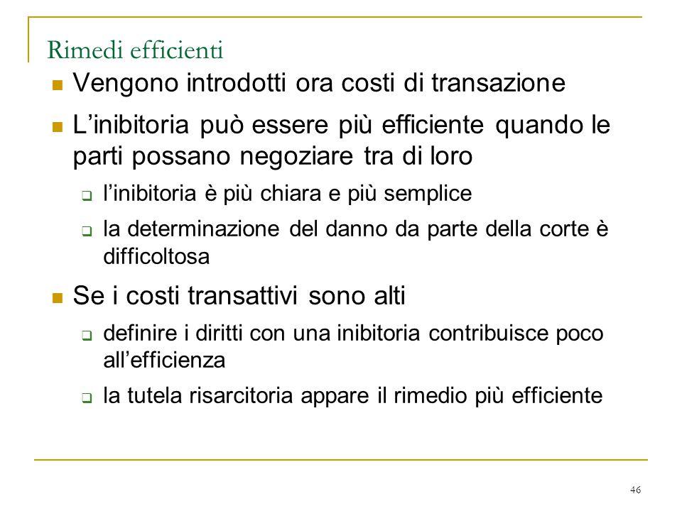 46 Rimedi efficienti Vengono introdotti ora costi di transazione L'inibitoria può essere più efficiente quando le parti possano negoziare tra di loro