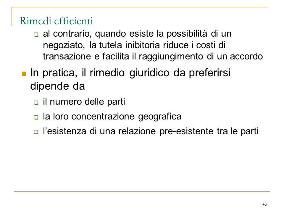 48 Rimedi efficienti  al contrario, quando esiste la possibilità di un negoziato, la tutela inibitoria riduce i costi di transazione e facilita il ra
