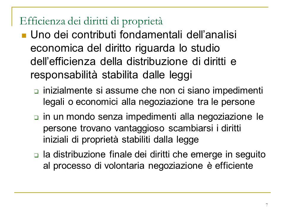 7 Efficienza dei diritti di proprietà Uno dei contributi fondamentali dell'analisi economica del diritto riguarda lo studio dell'efficienza della dist
