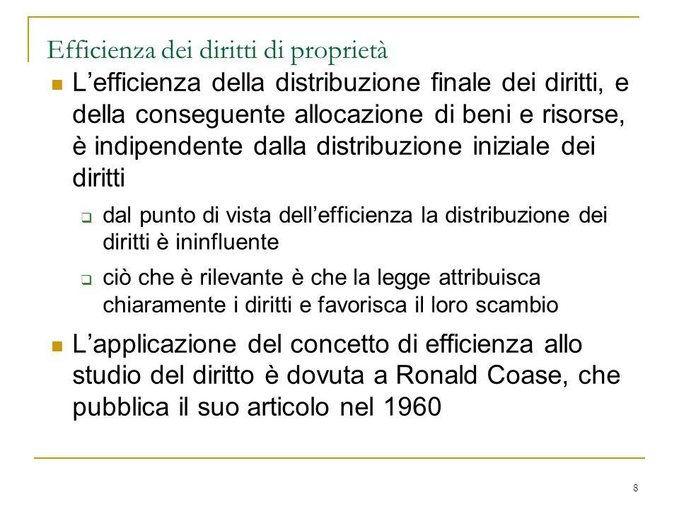 8 Efficienza dei diritti di proprietà L'efficienza della distribuzione finale dei diritti, e della conseguente allocazione di beni e risorse, è indipe