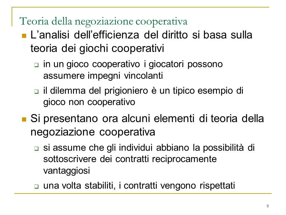 9 Teoria della negoziazione cooperativa L'analisi dell'efficienza del diritto si basa sulla teoria dei giochi cooperativi  in un gioco cooperativo i