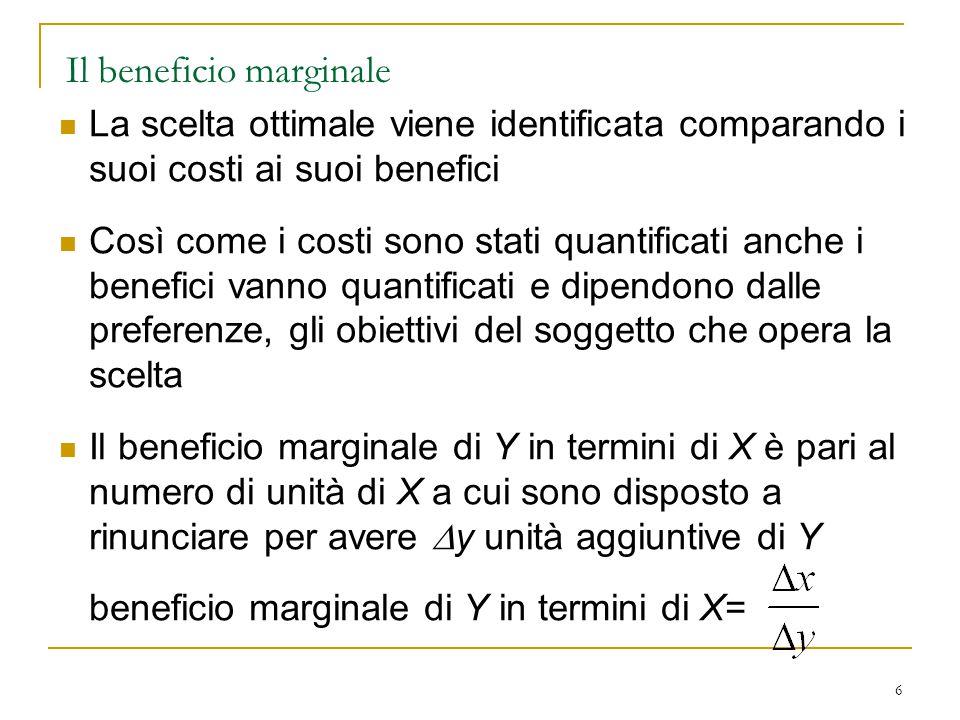 6 Il beneficio marginale La scelta ottimale viene identificata comparando i suoi costi ai suoi benefici Così come i costi sono stati quantificati anche i benefici vanno quantificati e dipendono dalle preferenze, gli obiettivi del soggetto che opera la scelta Il beneficio marginale di Y in termini di X è pari al numero di unità di X a cui sono disposto a rinunciare per avere  y unità aggiuntive di Y beneficio marginale di Y in termini di X=