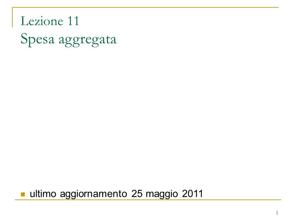 1 Lezione 11 Spesa aggregata ultimo aggiornamento 25 maggio 2011