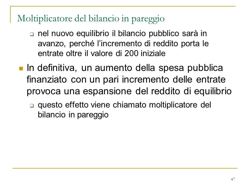 47 Moltiplicatore del bilancio in pareggio  nel nuovo equilibrio il bilancio pubblico sarà in avanzo, perché l'incremento di reddito porta le entrate