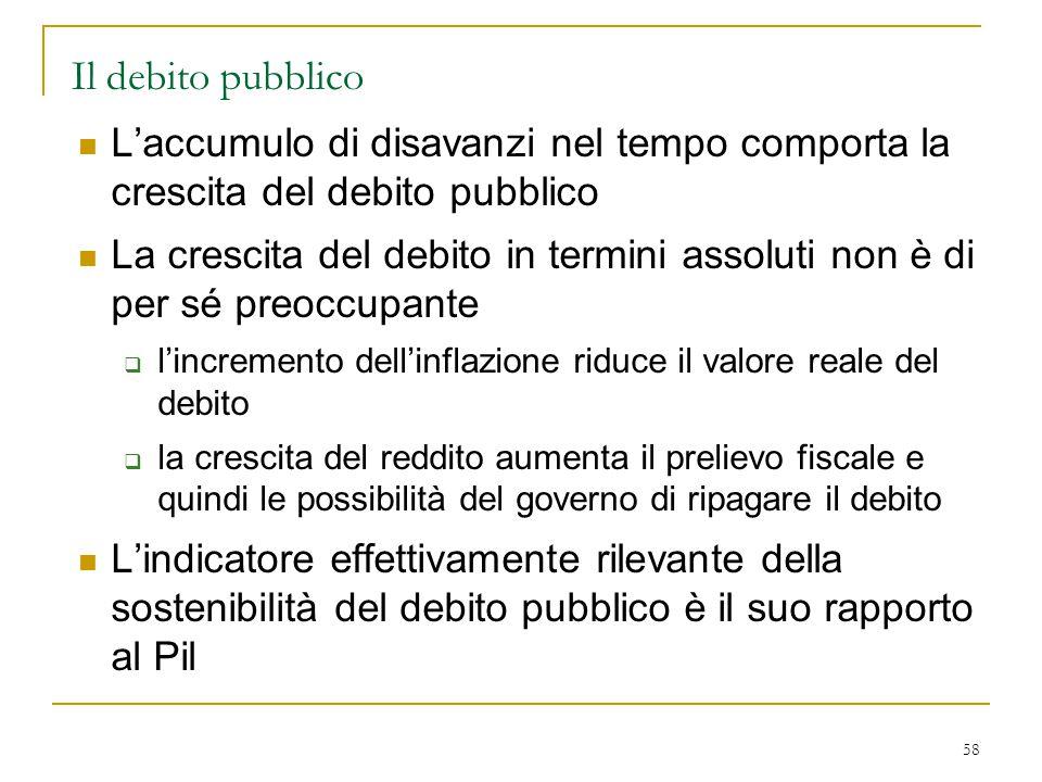 58 Il debito pubblico L'accumulo di disavanzi nel tempo comporta la crescita del debito pubblico La crescita del debito in termini assoluti non è di p