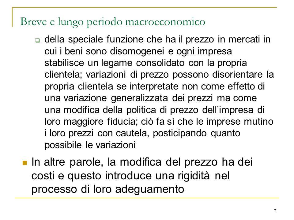 7 Breve e lungo periodo macroeconomico  della speciale funzione che ha il prezzo in mercati in cui i beni sono disomogenei e ogni impresa stabilisce