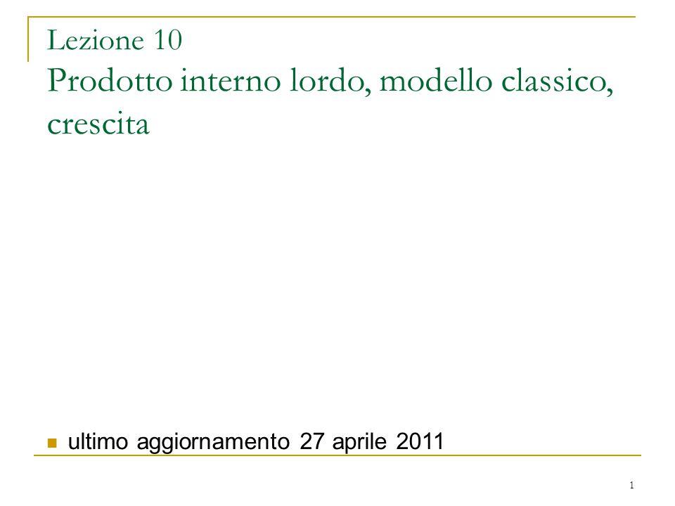 1 Lezione 10 Prodotto interno lordo, modello classico, crescita ultimo aggiornamento 27 aprile 2011