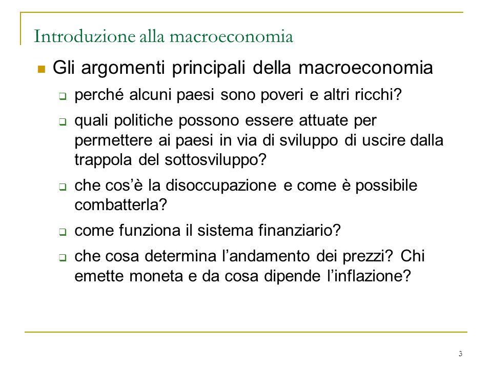 3 Introduzione alla macroeconomia Gli argomenti principali della macroeconomia  perché alcuni paesi sono poveri e altri ricchi?  quali politiche pos