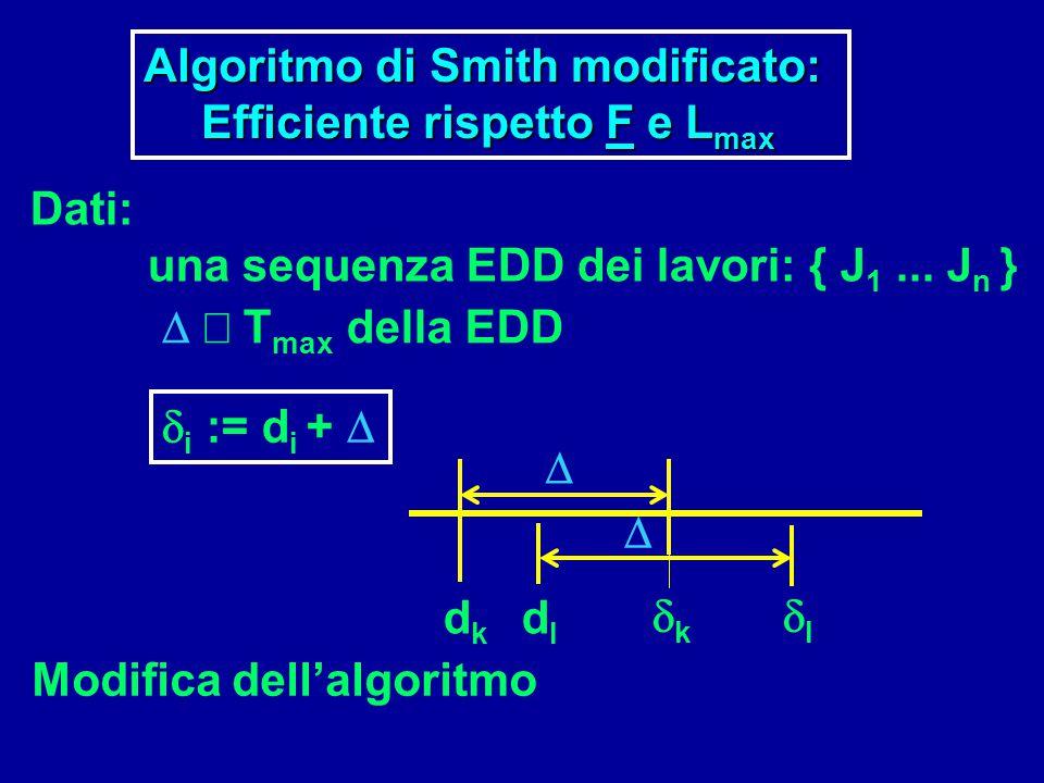 Algoritmo di Smith modificato:  Efficiente rispetto F e L max   T max della EDD  i := d i +  dkdk dldl kk ll   Modifica dell'algoritmo