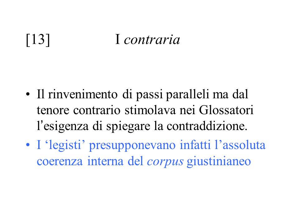 [13] I contraria Il rinvenimento di passi paralleli ma dal tenore contrario stimolava nei Glossatori l ' esigenza di spiegare la contraddizione. I 'le