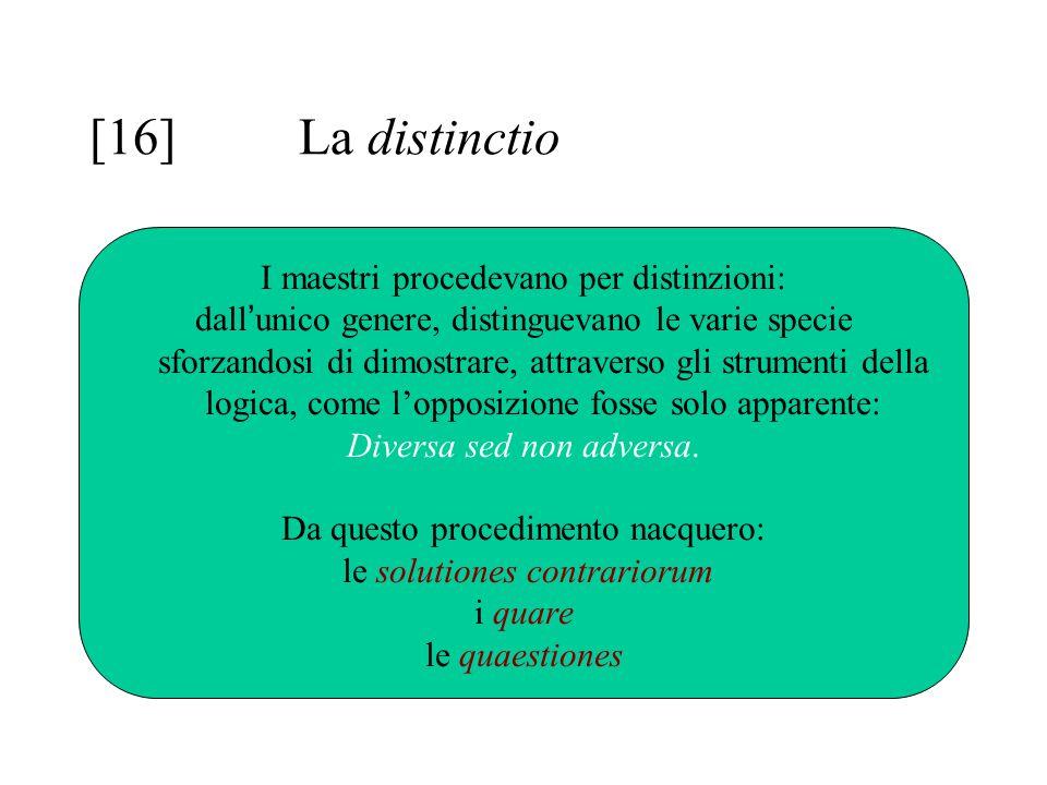 [16] La distinctio I maestri procedevano per distinzioni: dall ' unico genere, distinguevano le varie specie sforzandosi di dimostrare, attraverso gli