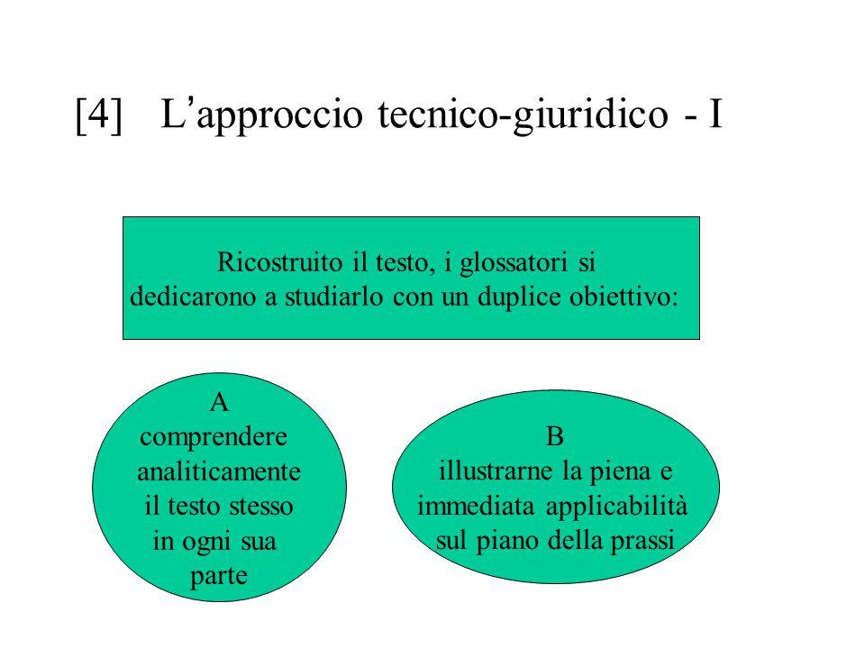 [4] L ' approccio tecnico-giuridico - I Ricostruito il testo, i glossatori si dedicarono a studiarlo con un duplice obiettivo: A comprendere analitica