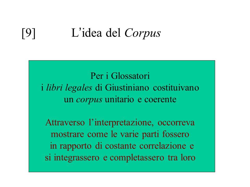 [9] L ' idea del Corpus Per i Glossatori i libri legales di Giustiniano costituivano un corpus unitario e coerente Attraverso l'interpretazione, occor