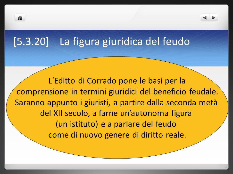 [5.3.20] La figura giuridica del feudo L ' Editto di Corrado pone le basi per la comprensione in termini giuridici del beneficio feudale. Saranno appu