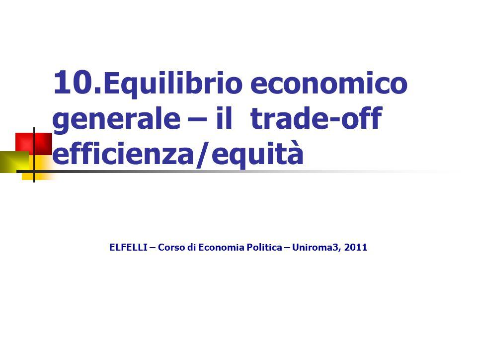 10. Equilibrio economico generale – il trade-off efficienza/equità ELFELLI – Corso di Economia Politica – Uniroma3, 2011