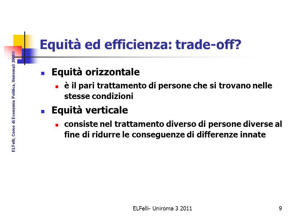 ELFelli- Uniroma 3 20119 Equità ed efficienza: trade-off.