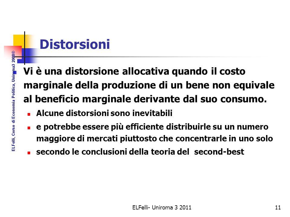 ELFelli- Uniroma 3 201111 Distorsioni Vi è una distorsione allocativa quando il costo marginale della produzione di un bene non equivale al beneficio marginale derivante dal suo consumo.